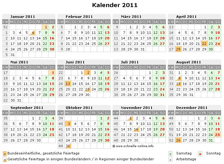 Kalender 2011 zum Ausdrucken