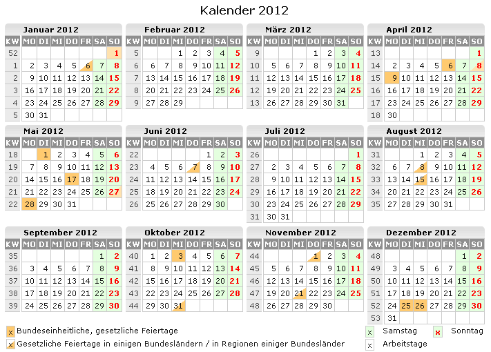 Kalender 2012 Zum Ausdrucken Kostenlos