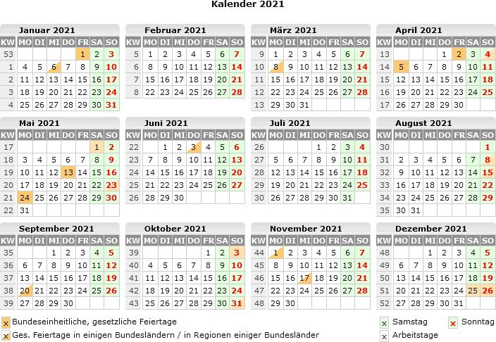 Kalender 2021 zum Ausdrucken kostenlos