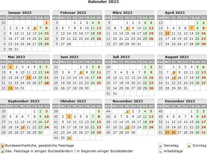 Schnelle Online Info Kalender 2021